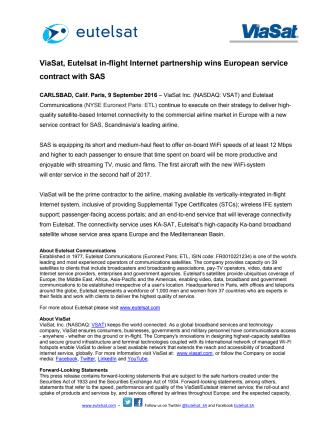 ViaSat, Eutelsat in-flight Internet partnership wins European service contract with SAS