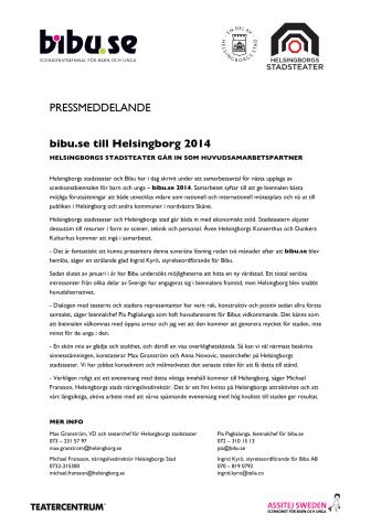 bibu.se till Helsingborg 2014 -  Helsingborgs stadsteater går in som huvudsamarbetspartner