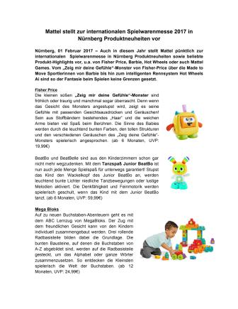Mattel stellt zur internationalen Spielwarenmesse 2017 in Nürnberg Produktneuheiten vor