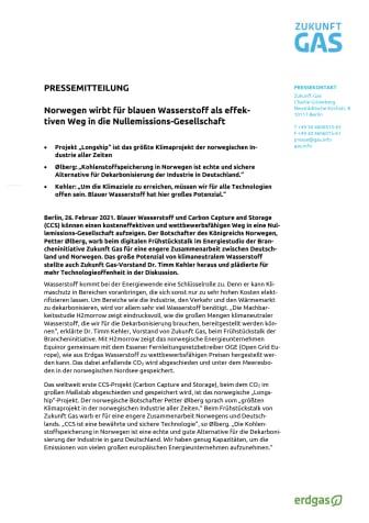 Norwegen wirbt für blauen Wasserstoff als effektiven Weg in die Nullemissions-Gesellschaft