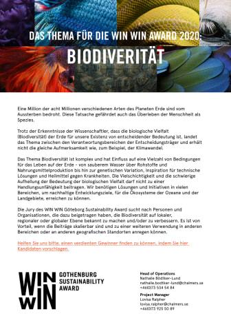 Das Thema für die Auszeichnung WIN WIN Award 2020 ist die Biodiversität