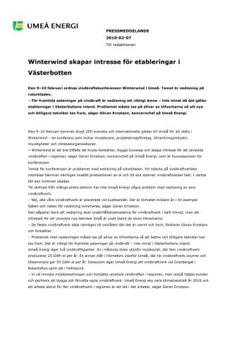 Winterwind skapar intresse för etableringar i Västerbotten