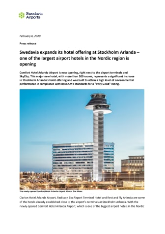 Swedavia expands its hotel offering at Stockholm Arlanda – one of the largest airport hotels in the Nordic region is opening