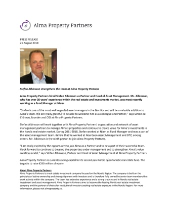 Stefan Albinsson strengthens the team at Alma Property Partners