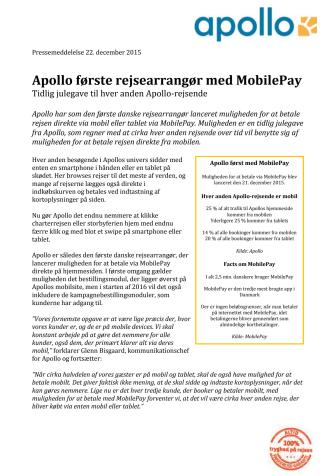 Apollo første charterrejsearrangør med MobilePay