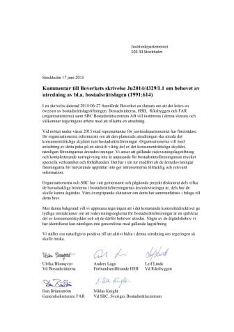 Skrivelse till justitiedepartementet