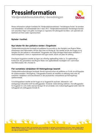 Pressinformation från Vårdproduktionsutskottet/- beredningen