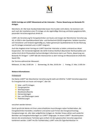 QVSD-Vorträge am LUMIT Messestand auf der Intersolar – Thema: Bewertung von Bestands-PV-Anlagen