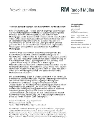 Thorsten Schmidt wechselt vom BaustoffMarkt zur Eurobaustoff