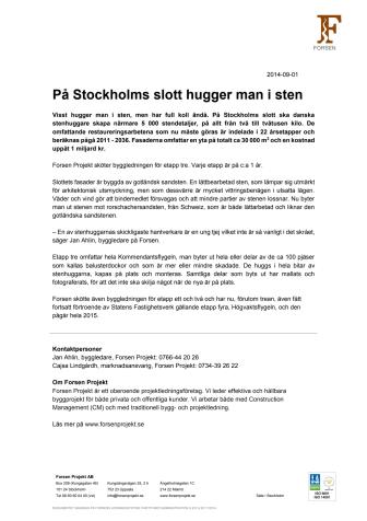 På Stockholms slott hugger man i sten