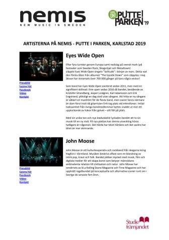 Presentation av artister Nemis Putte i Parken 2019