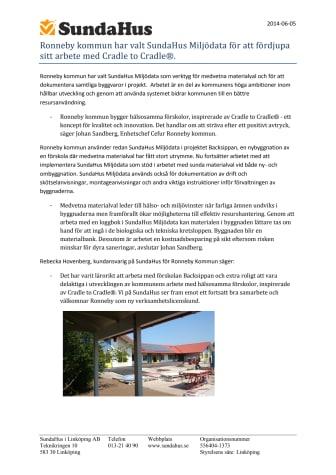 Ronneby kommun har valt SundaHus Miljödata för att fördjupa sitt arbete med Cradle to Cradle®.