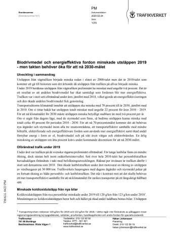 PM Vägtrafkens utsläpp, Trafikverket 200224
