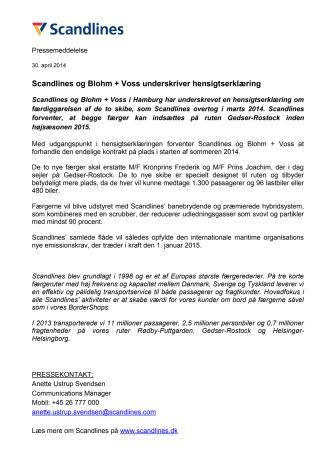 Scandlines og Blohm + Voss underskriver hensigtserklæring