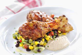 Kycklingben med bön- och majssallad