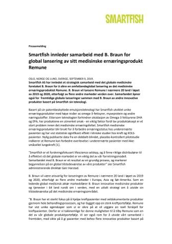 Smartfish innleder samarbeid med B. Braun for global lansering av sitt medisinske ernæringsprodukt Remune