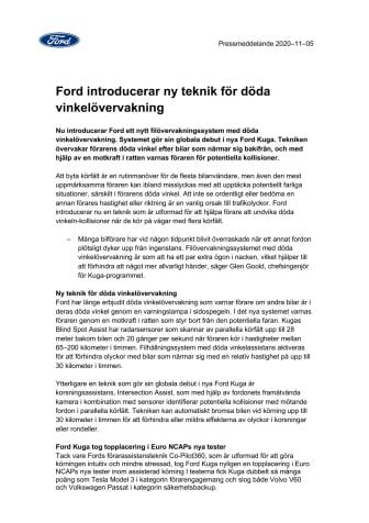 Ford introducerar ny teknik för döda vinkelövervakning