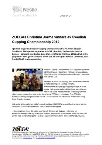 ZOÉGAs Christina Jorme vinnare av Swedish Cupping Championship 2012