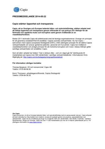 Capio stärker öppenhet och transparens