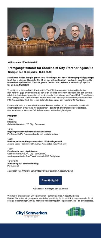 Inbjudan till webinarium 26 januari - Framgångsfaktorer för Stockholm City i förändringens tid