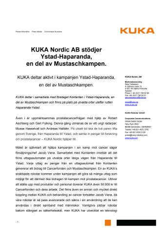 KUKA Nordic AB stödjer Ystad-Haparanda, en del av  Mustaschkampen.