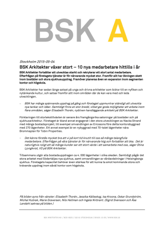 BSK Arkitekter växer stort – 10 nya medarbetare hittills i år