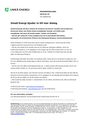 Umeå Energi bjuder in till mer dialog