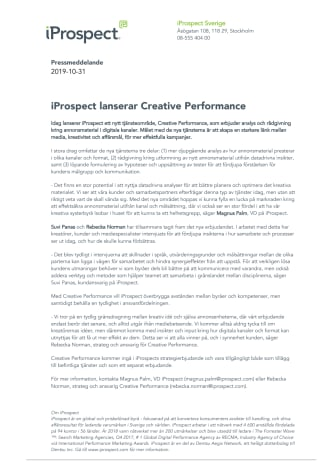iProspect lanserar Creative Performance