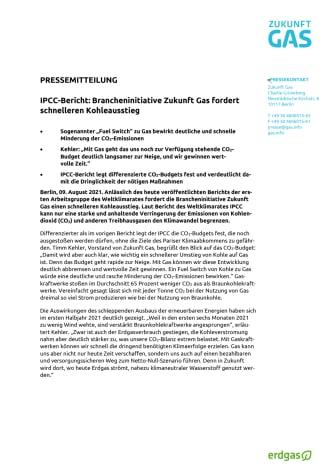 IPCC-Bericht: Brancheninitiative Zukunft Gas fordert schnelleren Kohleausstieg