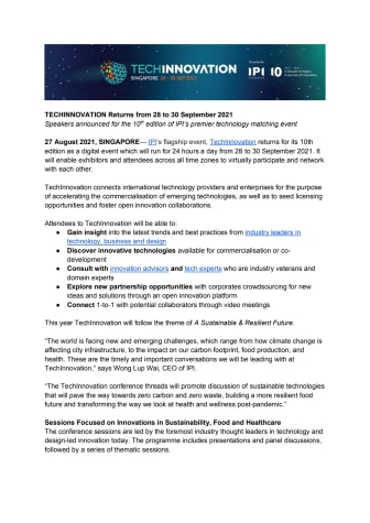 [MEDIA RELEASE] TechInnovation Returns from 28 to 30 September 2021.pdf