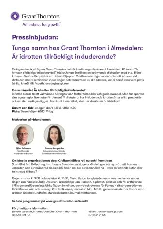 Pressinbjudan: Tunga namn hos Grant Thornton i Almedalen: Är idrotten tillräckligt inkluderande?