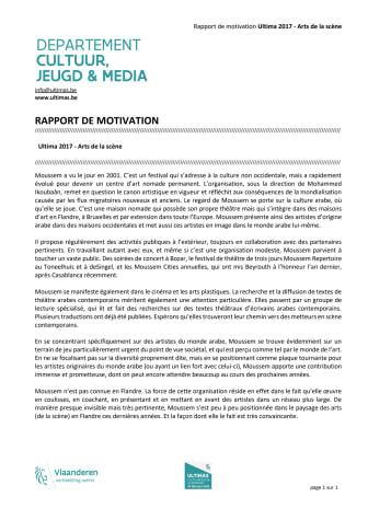 Rapport de motivation Ultimas 2017 - Arts de scène