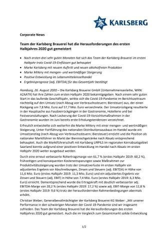 Presseinformation zu den Halbjahreszahlen 2020 der Karlsberg Brauerei GmbH