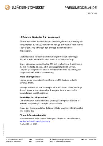 LED-lampa återkallas från konsument