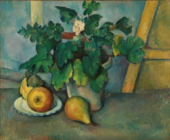 Paul Cézanne: Vase med frukt og blomster / Pot of Flowers and Fruit (circa 1888-90), The Samuel Courtauld Trust, The Courtauld Gallery, London
