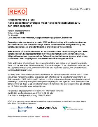 Reko presenterar Sveriges mest Reko konstinstitution 2010 och lanserar Reko-märkning