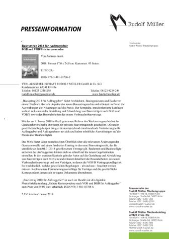 Bauvertrag 2018 für Auftraggeber