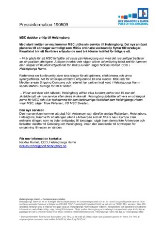 MSC dubblar anlöp till Helsingborg