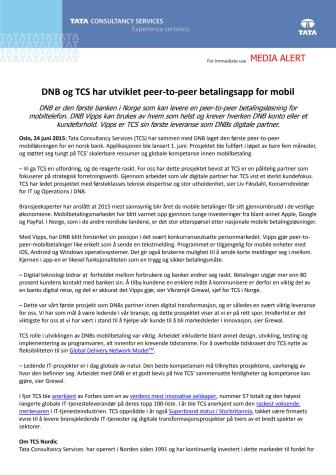 DNB og TCS har utviklet peer-to-peer betalingsapp for mobil