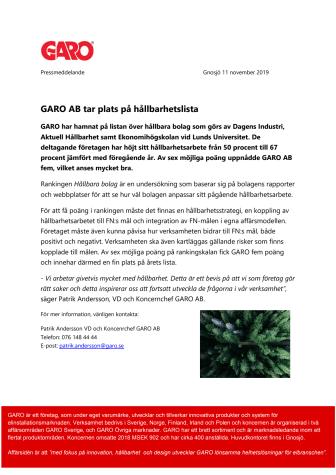 GARO AB tar plats på hållbarhetslista