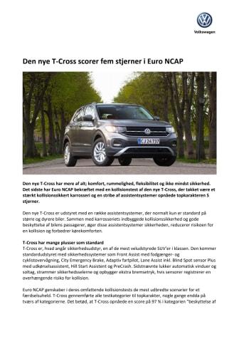 Den nye T-Cross scorer fem stjerner i Euro NCAP