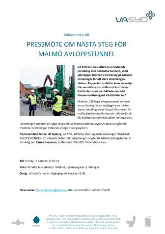 Pressmöte om nästa steg för Malmö avloppstunnel