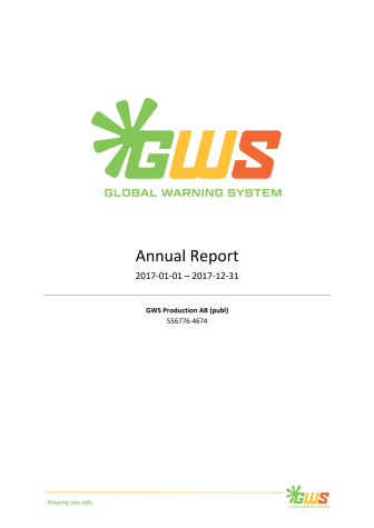 GWS Production AB (publ) publishes annual report for 2017