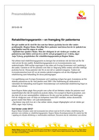 Rehabiliteringsgarantin – en framgång för patienterna