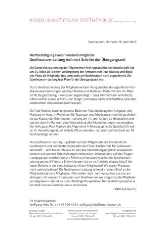 Nichtbestätigung zweier Vorstandsmitglieder: Goetheanum-Leitung definiert Schritte der Übergangszeit