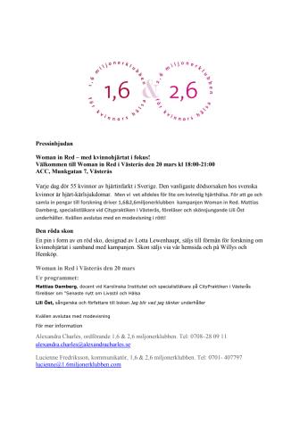 Välkommen till Woman in Red i Västerås 20 mars!