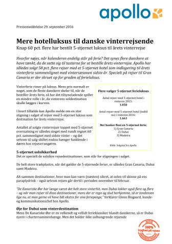 Mere hotelluksus til danske vinterrejsende
