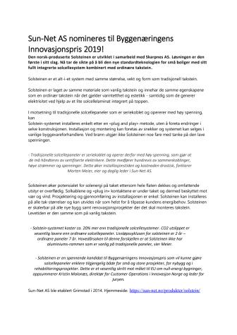 Sun-Net AS nomineres til Byggenæringens Innovasjonspris 2019!