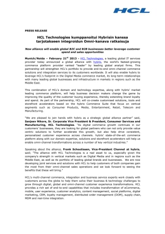 HCL Technologies kumppanoitui Hybrisin kanssa tarjotakseen integroidun Omni-kanava ratkaisuja