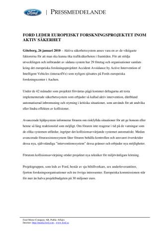 FORD LEDER EUROPEISKT FORSKNINGSPROJEKTET INOM AKTIV SÄKERHET